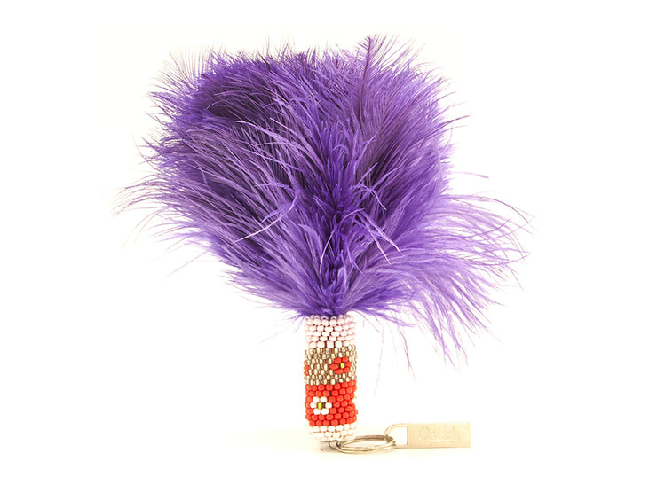 Beaded Feather Keyring - Ostrich Feather Keyring - Ostrich Feathers
