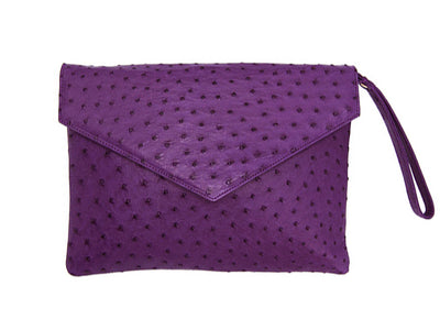 Ostrich Leather Envelope Clutch Bag - Clutch Bags - Ostrich Leather - Ostrich2Love