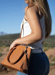 Ostrich Leather Knysna Midi Hepburn Bag