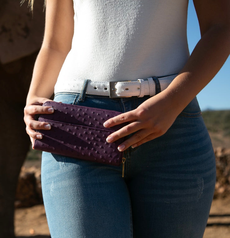 Cango Zip Clutch Ostrich Leather Wallet