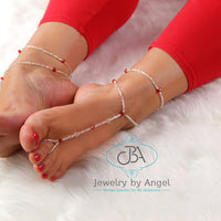 Crystal Bead Barefoot Sandal with Matching Anklets Foot Jewelry