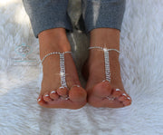 Rhinestone Foot Jewelry Silver Barefoot Sandals Feet Jewelry