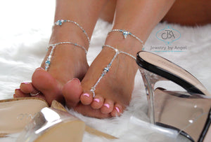Something Blue Crystal Foot Jewelry Wedding Foot Jewelry Beach Wedding Barefoot Sandals