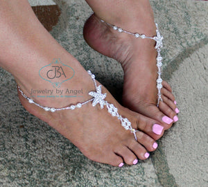 Pearl Bead Starfish Barefoot Sandals
