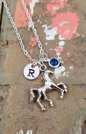 Personalized Horse Necklace, Equestrian Necklace, Horse Pendant Necklace, Horse Initial Necklace, Horse Letter Birthstone Necklace, Horse Lover Gifts