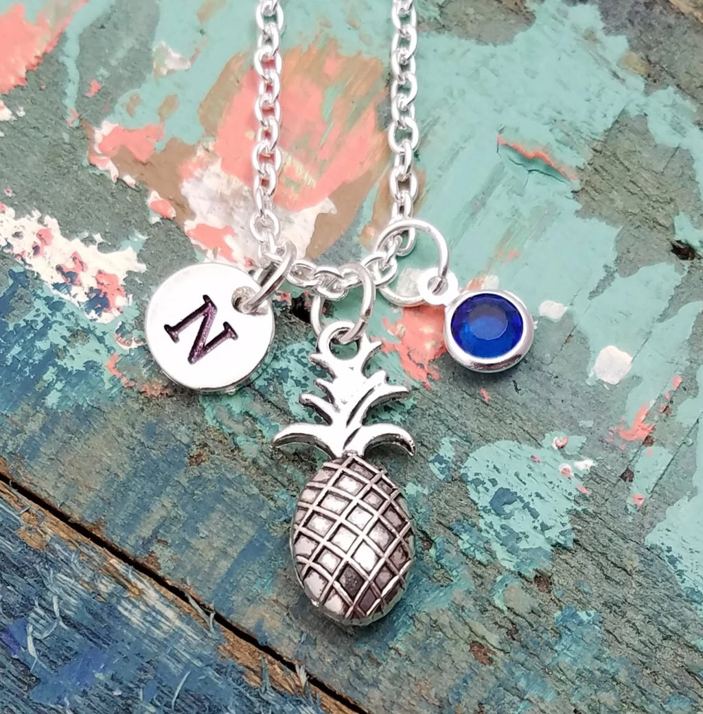 Pineapple Charm Necklace, Personalized Pineapple Necklace, Initial Necklace, Fruit Necklace