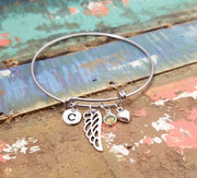 Angel Wing Bracelet Bangle, Remembrance Gift, Angel Bangle, Guardian Angel Bracelet, Angel Wing Charm Bangle, Personalized Memorial Bracelet