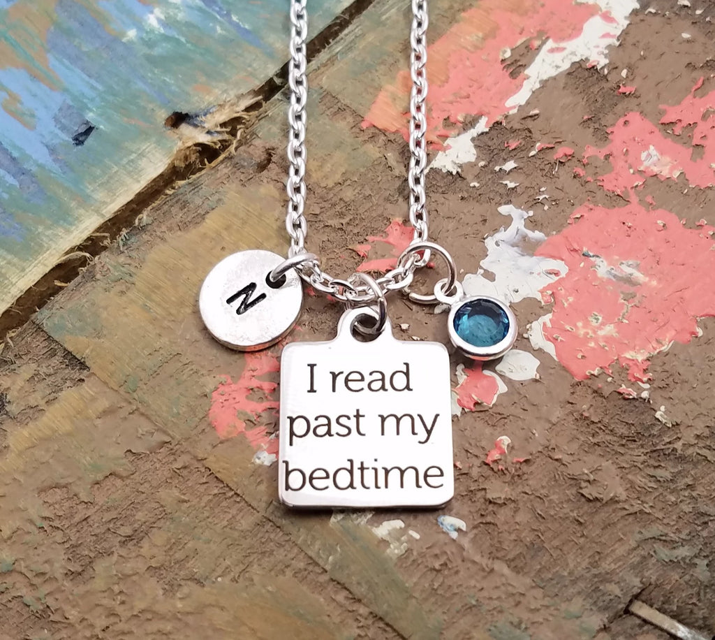 I Read Past My Bedtime, Personalized Book Necklace, Book Lover Necklace, Personalized Jewelry, Teacher Gift