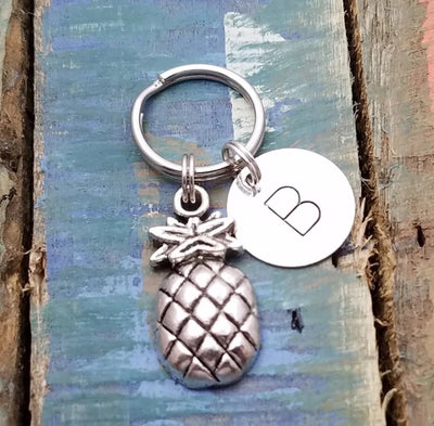 Personalized Pineapple Keychain, Fruit Keychain, Pineapple Key Ring, Initial Keychain, Pineapple Pendant Key Chain