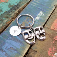 Comedy Tragedy Key Chain, Mask Charm Key Ring, Drama Theater Gift, Gift for Actor, Graduation Gift