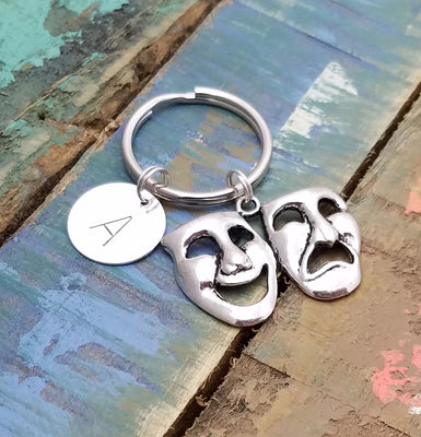 Comedy Tragedy Key Chain, Mask Key Ring, Drama Theater Gift