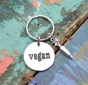 Vegan Key Chain, Vegan Key Ring, Gift for Vegan, Vegan Charm Keychain