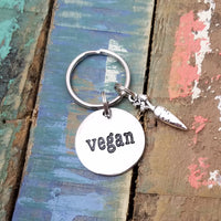 Vegan Key Chain, Vegan Key Ring, Gift for Vegan, Vegan Charm Keychain, Vegan Accessory, Foodie Gift