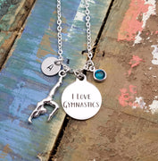 I love Gymnastics Necklace, Personalized Gymnast Necklace,  Initial Necklace, Birthstone Jewelry