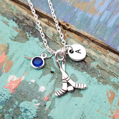 Ice Hockey Necklace, Silver Hockey Pendant, Hockey Charm Necklace,  Personalized Sports Necklace, Hockey Fan Gifts, Hockey Jewelry