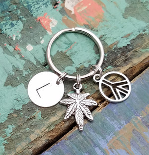 Marijuana Key Chain Personalized, Weed Key Chain, Marijuana Key Ring, Marijuana Leaf Keychain, Silver Marijuana Charm, Weed Key Ring, Cannabis Jewelry, Pot Leaf Key Chain