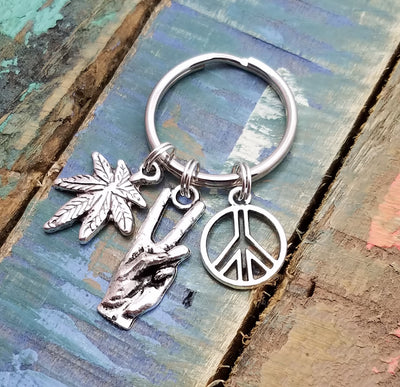 Marijuana Leaf Key Chain, Weed Key Chain, Marijuanna Key Ring, Marijuana Leaf Keychain, Silver Marijuana Charm, Weed Key Ring, Cannabis Jewelry, Pot Leaf Key Chain
