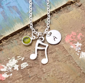 Music Note Necklace, Personalized Music Jewelry, Music Gift, Music Note Necklace,