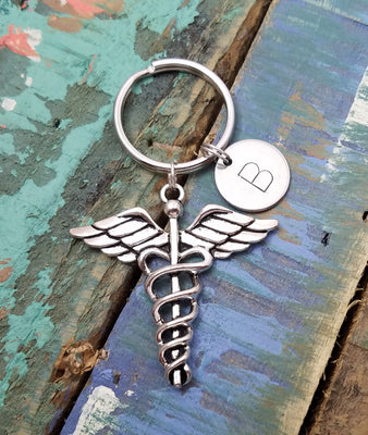 Caduceus Symbol Key Chain, Medical Keychain, Caduceus Key Ring, Personalized Medical Key Chain, Dr Gift, Doctors Key Chain