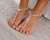Pearl Barefoot Sandals Crystal Pearl Foot Jewelry Beaded Barefoot Sandals
