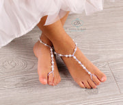 Flower Girl Barefoot Sandals Girls Pearl Barefoot Sandals Beaded Barefoot Sandals