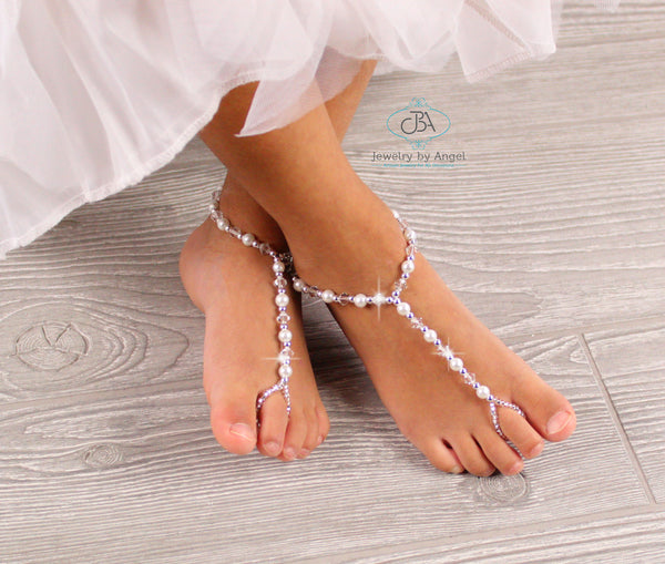 Catpapa Baby Girl Foot Flower Shoes Barefoot Sandals Pearl Chiffon