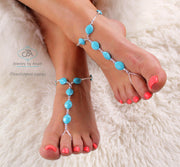 FLASH SALE Something Blue Turquoise Barefoot Sandal Blue Foot Jewelry
