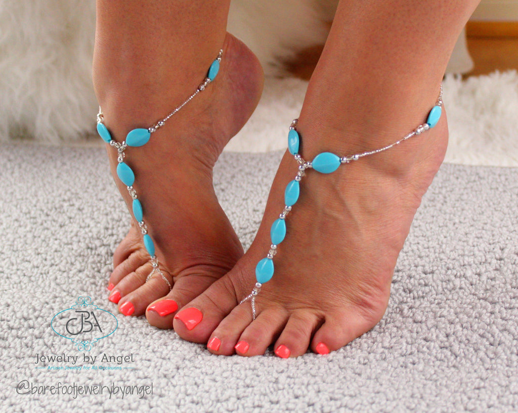 Something Blue Turquoise Barefoot Sandal Blue Foot Jewelry