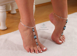 Crystal Beaded Barefoot Sandals Blue Foot Jewelry