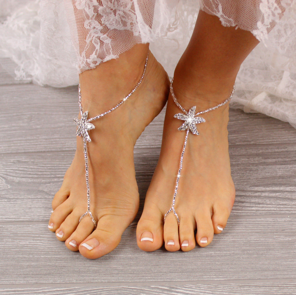 Silver Starfish Foot Jewelry Silver Barefoot Sandals Flower Girl Barefoot Sandals Silver Foot Jewelry