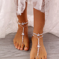 Rhinestone Starfish Barefoot Sandals Foot Jewelry Ankle Bracelet Destination Wedding