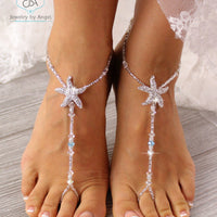 starfish barefoot sandals, wedding barefoot sandals, bridal foot sandals, beaded beach sandals