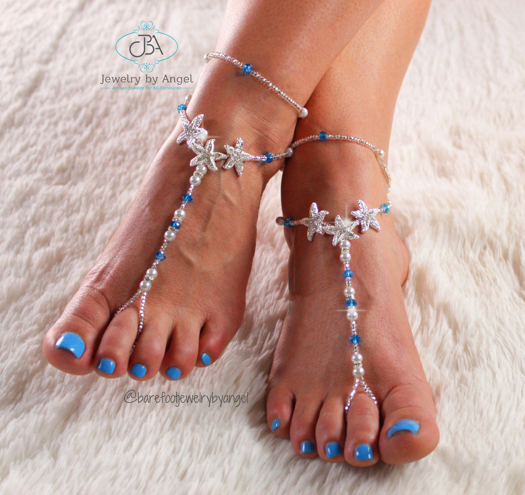 Starfish Foot Jewelry Beach Wedding Barefoot Sandals Something Blue