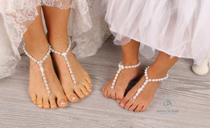 Beach Wedding Barefoot Sandals Pearl Foot Jewelry Beaded Barefoot Sandals