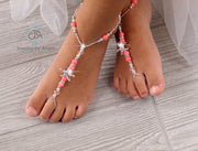 Coral Starfish Beach Wedding Barefoot Sandals Bridal Foot Jewelry