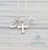 Silver Cross Necklace, Silver Cross Pendant Necklace, Personalized Cross Necklace, Christening Necklace for Girl, Baptism Gift