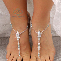 Beaded Barefoot Sandals Wedding Barefoot Sandal Bridal Foot Jewelry Starfish Barefoot Sandal SFJ16