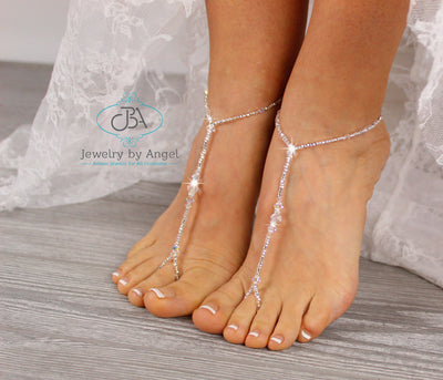 Beach Wedding Barefoot Sandals Crystal Beaded Barefoot Sandals