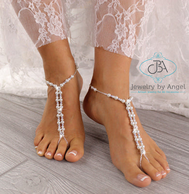 Pearl Wedding Barefoot Sandals Bridal Foot Jewelry Beaded Barefoot Sandals