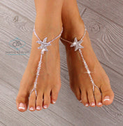 Crystal Starfish Barefoot Sandal Bridal Foot Jewelry Beach Wedding Sandals SFJ13