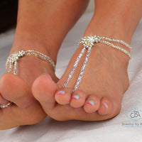 Flower Crystal Barefoot Sandals Wedding Beaded Foot Jewelry Ankle Bracelet