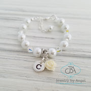 Letter Charm Flower Girl Bracelet, Baby Pearl Bracelet, Flower Girl Jewelry, Children's Bracelet