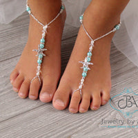Starfish Beaded Barefoot Sandals, Turquoise Barefoot Sandals, Bridal Foot Jewelry, Beaded Barefoot Sandals