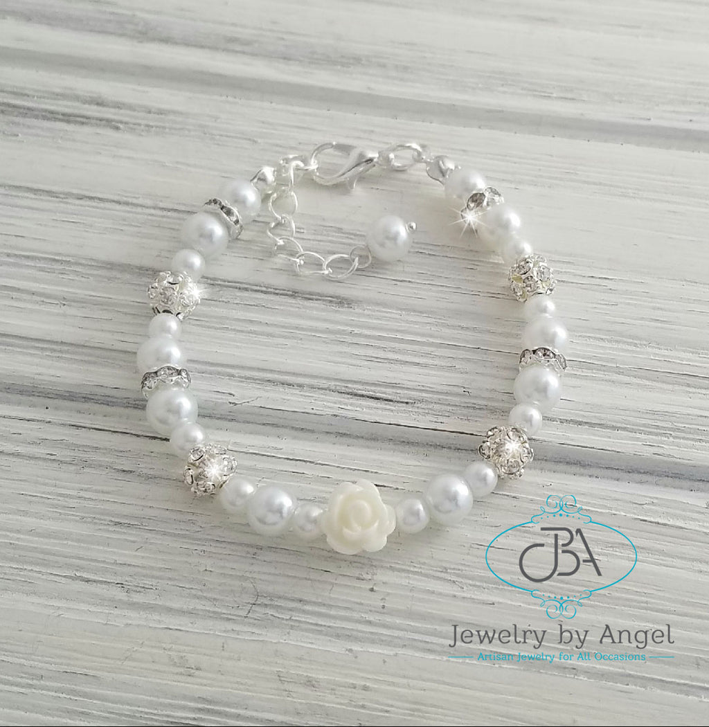 Flower Girl Bracelet, Baby Pearl Bracelet, Flower Girl Jewelry, Children's Bracelet