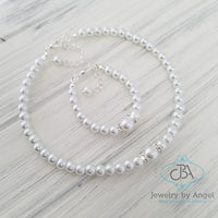 Flower Girl Pearl Necklace, Baby Pearl Necklace, Little Girl Pearl Necklace, Baby Pearl Bracelet