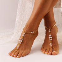 Gold Barefoot Sandals Beach Wedding Sandal Bridal Foot Jewelry Gold Footless Sandals