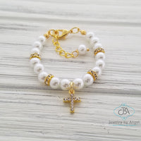 Gold Cross Bracelet, Rhinestone Gold Cross Bracelet, Christening Bracelet for Girl, Baptism Gift