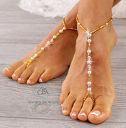 Gold Beaded Footless Sandal Beach Wedding Barefoot Sandal Bridal Foot Jewelry BFS17