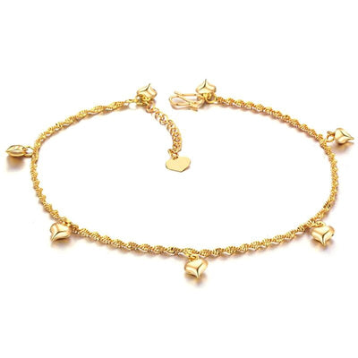 18K Plated Gold Anklet Adjustable Heart Charm Ankle Bracelet for Women Foot Jewelry Heart Charm Anklet Foot Accessories Gift for Girl