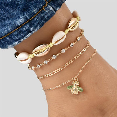 Rhinestone Anklet Seashell Ankle Bracelet Foot Accessories Bee Charm Anklet Gold Tone Chain Ankle Bracelet Anklet for Women Gift 4 Piece Anklet Set